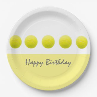 Tennis balls are on white background paper plate