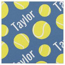 Tennis balls blue name sports pattern fabric