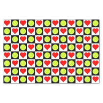 Tennis Balls & Hearts Pattern Tissue Paper