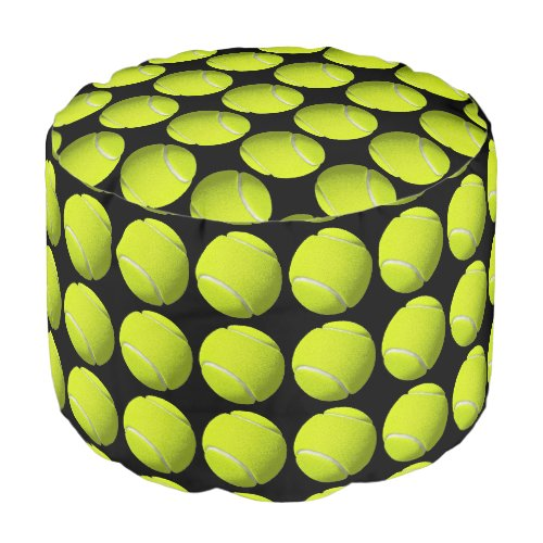 Tennis Balls on Black Pouf