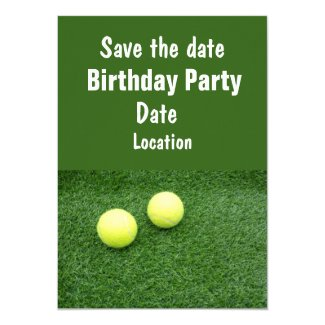 Tennis balls on green grass save the date party invitation