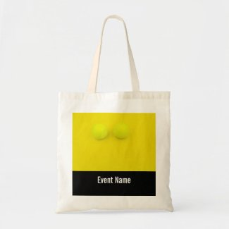 Tennis balls on yellow background tote bag