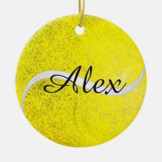 Tennis balls personalized name ceramic ornament