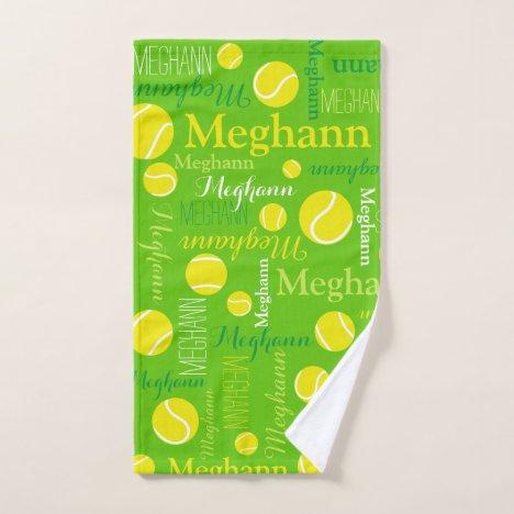 Tennis balls sports yellow, green custom name hand towel