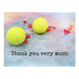 Tennis balls with love on white background postcard