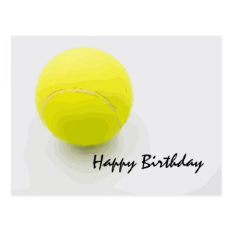 Tennis Birthday card with tennis ball on white