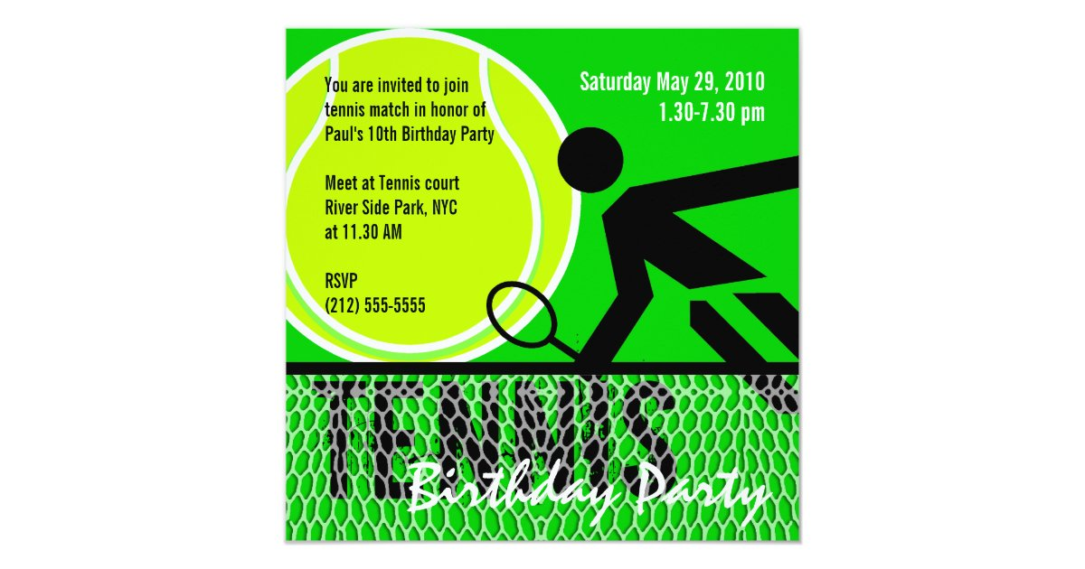 Tennis Birthday Party Invitation Zazzle Com