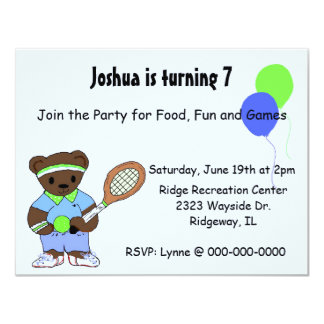 Tennis Birthday Party Invitations