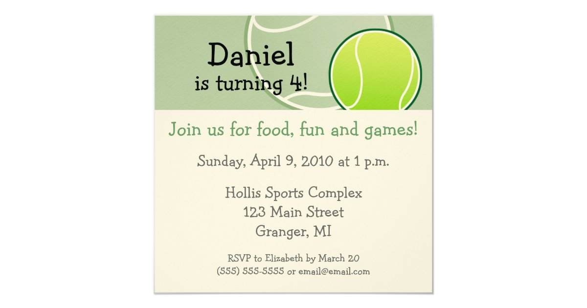 Tennis Party Invitation Wording