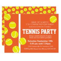 Tennis birthday party invite red orange clay court