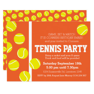 Tennis birthday party invite red orange clay court