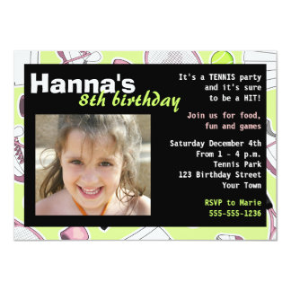 Tennis Birthday Party Photo Invitation Green