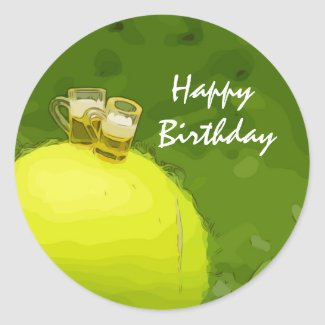 Tennis Birthday with ball and glass of beer Classic Round Sticker