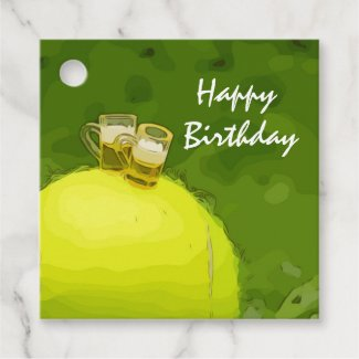 Tennis Birthday with ball and glass of beer Favor Tags