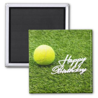 Tennis Birthday with tennis ball on green grass Magnet