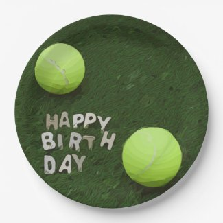 Tennis Birthday with tennis balls are on green Paper Plate