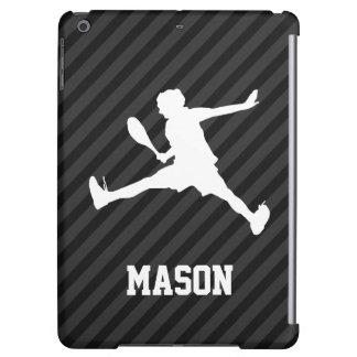 Tennis; Black & Dark Gray Stripes Case For iPad Air