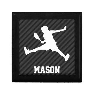 Tennis; Black & Dark Gray Stripes Keepsake Box