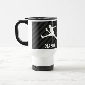 Tennis; Black & Dark Gray Stripes Stainless Steel Travel Mug