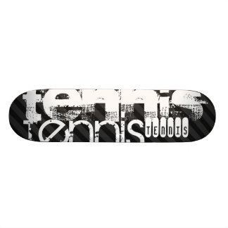 Tennis; Black & Dark Gray Stripes Skateboard