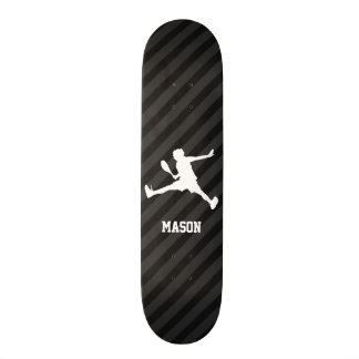 Tennis; Black & Dark Gray Stripes Skateboard Deck