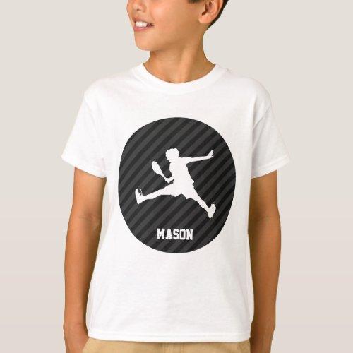 Tennis Black  Dark Gray Stripes T_Shirt