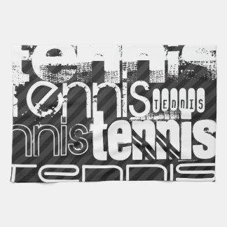 Tennis; Black & Dark Gray Stripes Towel