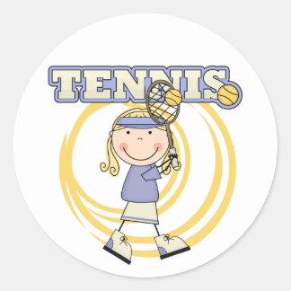 TENNIS - Blond Girl Tshirts and Gifts Round Sticker