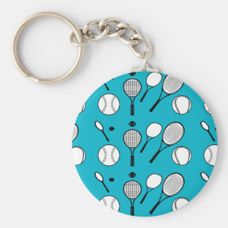 Tennis blue black white basic round button keychain