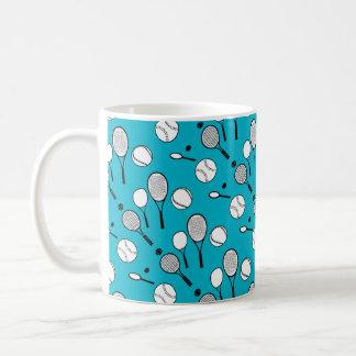 Tennis blue white black coffee mug