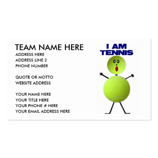 Tennis cartoon business card zazzle for Cartoon business cards