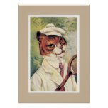 Tennis Cat Poster