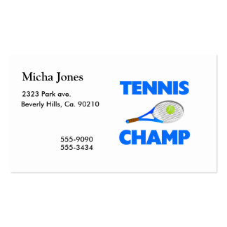 Tennis Champ Double-Sided Standard Business Cards (Pack Of 100)