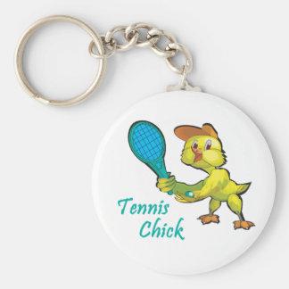 tennis chick basic round button keychain