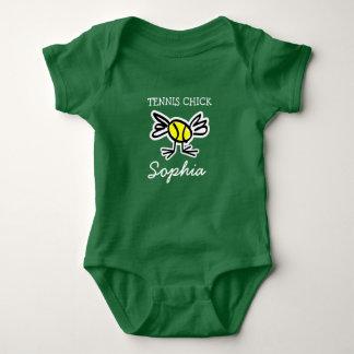 Tennis chick one piece green girls baby bodysuit