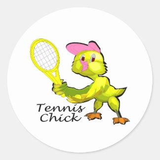 Tennis Chick Round Stickers