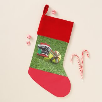 Tennis Christmas ball with ornament on green Christmas Stocking
