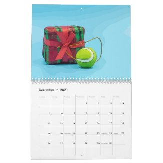 Tennis Christmas ball with Santa Claus Holiday Calendar