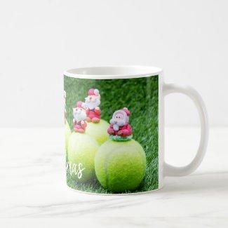 Tennis Christmas ball with Santa Claus Holiday Coffee Mug