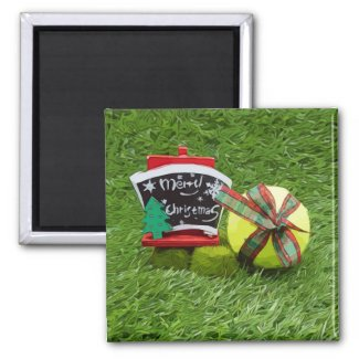 Tennis Christmas ball with Sign Merry Christmas Magnet