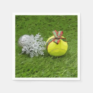 Tennis Christmas ball with  silver ornament Napkins