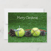 Tennis Christmas Card with pine cone and ribbon