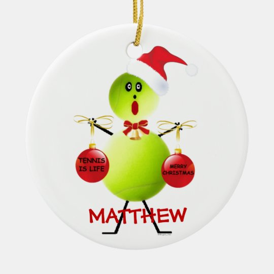 Tennis Christmas Cartoon Ceramic Ornament