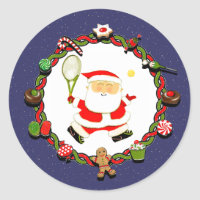 tennis Christmas Classic Round Sticker