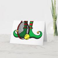 Tennis Christmas Elf Feet Holiday Card