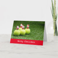Tennis Christmas Holiday Card with ball and Santa