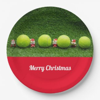 Tennis Christmas Holiday with Santa Claus and ball Paper Plate