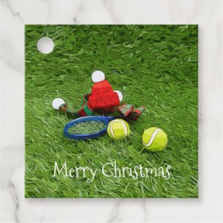 Tennis Christmas Holiday with Santa Hat Favor Tags