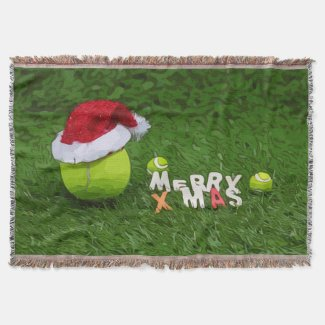 Tennis Christmas Holiday with Santa Hat Throw Blanket