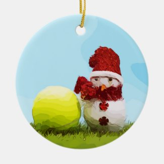 Tennis Christmas Holiday with Snowball Ceramic Ornament